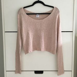 NWT Pink Knit Crop Sweater
